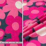 Large Retro Floral - Pink Grey