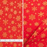 Christmas Snowflakes Gold Red